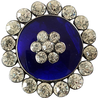 "Antique Georgian Silver Paste Jewel Button Cobalt Blue Glass 1 1/8"" France ca. 1800"