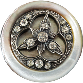 """Large Antique Victorian Mother of Pearl Paste Metal Button 1 1/2"""""""