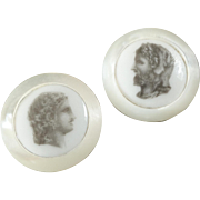 Two Antique Victorian Liverpool Transfer Mother of Pearl Buttons Male Heads 7/8""