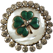 Large Antique Victorian Mother of Pearl Enamel Paste Four-Leaf-Clover Button 1 1/2""