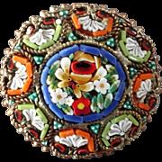"Colourful Venetian Murano Glass Millefiori Mosaic Metal Button 1 """
