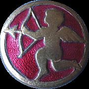 "Large Guilloche Enamel Brass Cupid Sage Button Zodiac 1 1/16"""