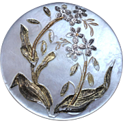 """Antique Art Nouveau Engraved Gilded Mother of Pearl Button 1 3/16"""""""