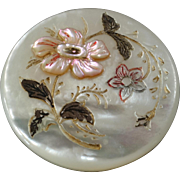 """Antique Art Nouveau Engraved Applied Painted Mother of Pearl Button 1 1/16"""""""