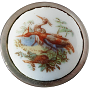 "Antique Mother of Pearl Porcelain Button 1 1/16"" Birds Crane Heron Transfer Print"