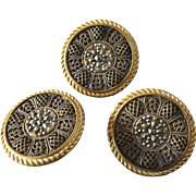 """Three Large Antique Victorian Openwork Filigree Faux Cut Steel Metal Buttons 1 1/2"""""""