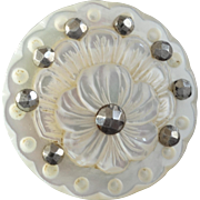 """Antique Victorian Carved Mother of Pearl Cut Steel Button Flower 1 1/16"""""""