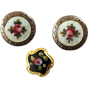 "Three Small Antique Victorian Enamelled Brass Rose Buttons 5/16"" and 7/16"""