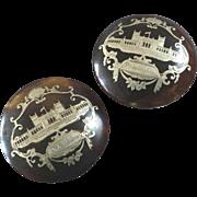 """Large Antique Pique Philadelphia Centennial Exhibition 1876 Stud Button 1 5/16"""""""