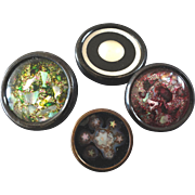 """Four Large Antique Victorian DUG Design under Glass Buttons 7/8"""" to 1 1/4"""" - smallest damaged, sorry!"""