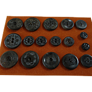 A Card of 17 Antique Victorian Pressed Horn Buttons