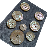 A Card of 8 Antique Victorian Carved Mother of Pearl Buttons 15/16""