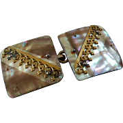 Antique Victorian Mother of Pearl Brass Buckle