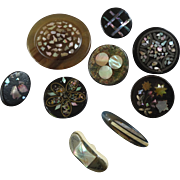 Interesting Assortment of 9 Antique Victorian Composition Horn Mother of Pearl Paper Mache Buttons 36mm