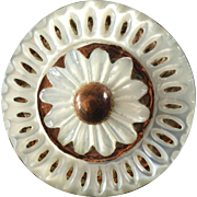"""Antique Georgian Carved Pierced Mother of Pearl Metal Button Stylized Flower just under 1"""""""