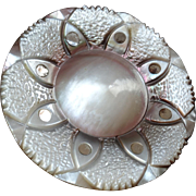 """Large Antique Victorian Carved Mother of Pearl Button Steel Foil Inlays 1 9/16"""" (40mm)"""