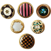 "Six Antique Colourful Victorian Metal Celluloid Paste Composition Buttons 7/8"""