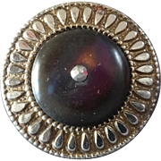 """Antique Victorian Cut Steel Pink-Purple Mother of Pearl Button 1"""""""
