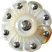 """Antique Victorian Carved Mother of Pearl Cut Steel Daisy Button 1 1/16"""""""