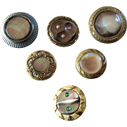 "Six Large Antique Victorian Mother of Pearl Paste Coral Metal Buttons 7/8"" to 1 1/4"""
