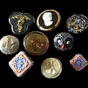 Interesting Assortment of 9 Glass Buttons Cameo Head Owl Cherries