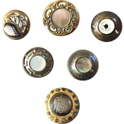 "Six Antique Victorian Mother of Pearl Metal Buttons 11/16"" to 7/8"""