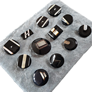 """A Card of 12 Black Casein Buttons with Mother of Pearl Inlay 1 1/16"""""""
