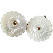 """Antique Mother of Pearl Two-Piece Buckle of Two Georgian Buttons 1 1/8"""""""