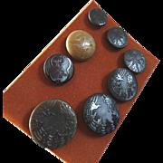 "A Card of Art Nouveau Vegetable Ivory (Tagua) Buttons 1 1/16""  Horseshoe Flowers Clover"