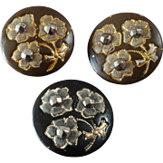 """Three Antique Victorian Lacquered Gilded Metal Buttons with Cut Steel Points 7/8"""""""