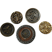 """An Assortment of 5 Antique Victorian Metal Picture Buttons Bird Motifs max 1 3/8"""""""