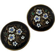 """A Pair of Antique Victorian Enamelled Lapel Stud Buttons 15/16"""" - Red Tag Sale Item"""