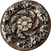 """Antique Victorian Carved Mother of Pearl Metal Button 15/16""""  Flowers, Gargoyle Masks, Cut Steel"""