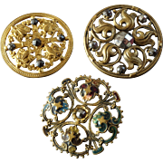 "Three Large Antique Victorian Gilded Metal Cut Steel Openwork Buttons 1 1/4"" to 1 5/16"" Enamel"