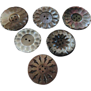 Six Large Antique Victorian Carved Mother of Pearl Buttons 1 7/16""