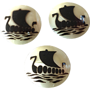Three Stencil Painted Celluloid Buttons with Viking Ships 7/8""