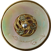 """Antique Victorian Engraved Mother of Pearl Gilded Metal Cut Steel Button just under 1 1/4"""""""