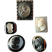 """Interesting Assortment of Antique Victorian Glass Button with Women's Heads max. 1 1/4"""""""
