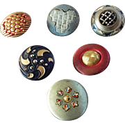 """Six Colourful Antique Victorian Metal Cut Steel Buttons 7/8"""""""