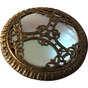 Large Antique Victorian Openwork Metal Button with Mother of Pearl Inlay 1 3/8""