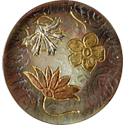 Antique Art Nouveau Engraved Gilded Mother of Pearl Button Flowers Leaves - just under 1 1/16""