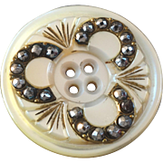 """Antique Victorian Mother of Pearl Cut Steel Button 1 3/16"""""""