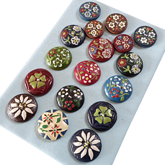 """A Colourful Card of Bavarian Pressed and Painted Wood Buttons Edelweiss Four Leaf Clover  7/8"""""""