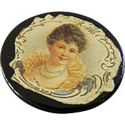 Large Antique Paper Mache Button with Glossy Print of Victorian Woman 1 1/4""