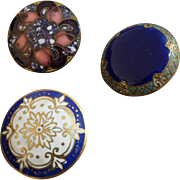 """Three Antique Victorian Enamel Buttons 7/8"""" France"""
