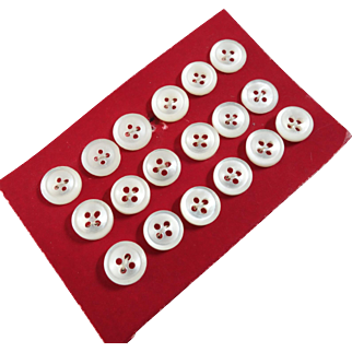 """A Card of 18 Tiny Antique Victorian 4-Hole Sew-Through Mother of Pearl Buttons 1/4"""""""
