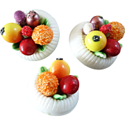 """A Card of 3 Figural Fruit Bowl Plastic Buttons 3/4"""""""