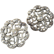 """Two Large Antique Georgian Openwork Cut Steel Metal Buttons 1 1/4"""""""