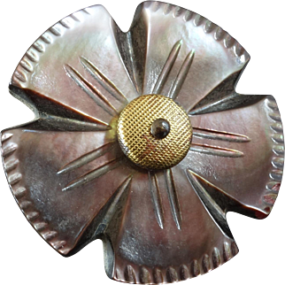 """Large Antique Victorian Carved Mother of Pearl Metal Flower Button 1 5/16"""""""