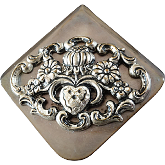 """Large Mother of Pearl Button Metal Escutcheon Heart & Flowers 2"""""""